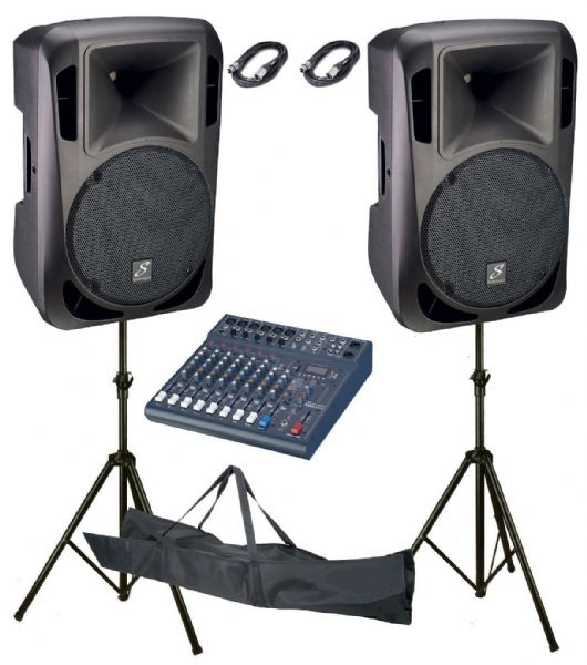 Studiomaster Drive 15A Active Speakers pair + Club XS10 Mixer, stands,leads,Pack